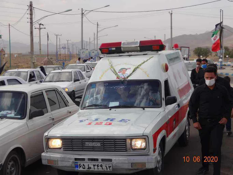 پیکر شهید آتشنشان عزیزاله اکبری در روستای نیسیان اردستان آرام گرفت